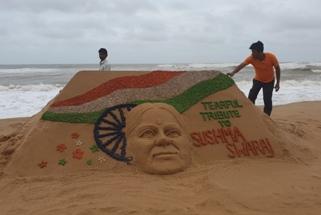 Manas' sand art-Tearful Tribute to Sushma Swaraj
