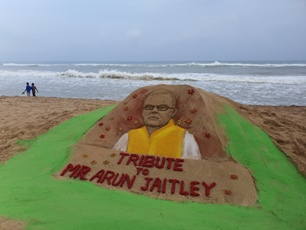 International sand artist Manas's tribute to Arun Jaitley