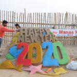 Manas' sand art ushers     New Year 2020