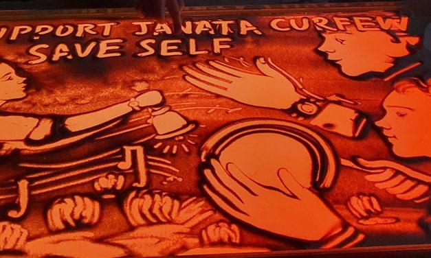 Sand artist Manas's animation video for Janata Curfew