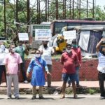City auto drivers demonstrate demanding relief during lock down