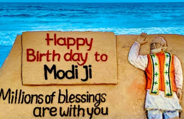 Int'l sand artist Sudarsan Patnaik's birthday wishes for Modi
